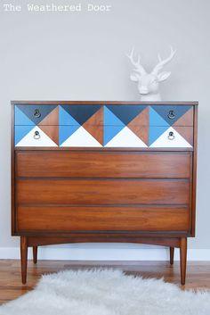 Painted Geometric Mid Century Dresser :: Hometalk