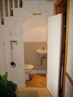 downstairs toilet utility room under stairs Small Toilet Room, New Toilet, Small Laundry Rooms, Small Bathroom, Small Sink, Bathroom Storage, Bathroom Ideas, Downstairs Cloakroom, Downstairs Toilet
