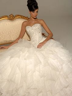A-Line Ball Gown Princess Strapless Sweetheart Basque Satin Organza Wedding Dress
