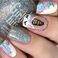 Nails for kids Floral nails are perfect for the spring and this design is easier than it looks. Floral nails are perfect for the spring and this design is easier than it looks. Click above for 39 more easy spring nail art. Unicorn Nails Designs, Unicorn Nail Art, Mermaid Nail Art, Dance Nails, Nail Art For Kids, Kid Nail Art, Cute Kids Nails, Fake Nails For Kids, Cool Nail Art