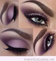 Gorgeous soft purple eye make-up for blue eyes