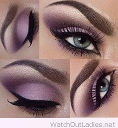 Gorgeous soft purple eye make-up for blue eyes