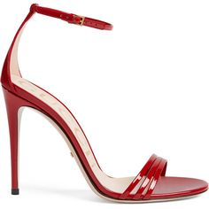 Gucci Patent Leather Sandal ($695) ❤ liked on Polyvore featuring shoes, sandals, red, gucci sandals, ankle tie sandals, patent sandals, red ankle strap shoes and red heeled sandals