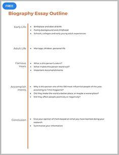 003 5 Paragraph Biography Essay Outline Format Outline