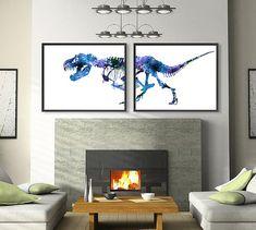 Blue Decor Art Print Watercolor Dinosaurs Bones by Thenobleowl