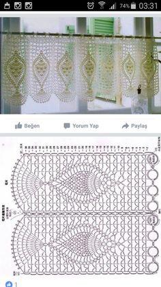 Crochet Borders, Crochet Diagram, Filet Crochet, Crochet Stitches, Crochet Patterns, Crochet Curtain Pattern, Crochet Curtains, Curtain Patterns, Pineapple Crochet