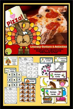 """Turkey Time! Get kids engaged in their own learning. Practice letter recognition, identifying and naming beginning and ending sounds. Use picture cards to """"feed"""" the turkey. $"""