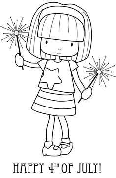 Freebie: Happy Fourth of July! Coloring Book Pages, Coloring Sheets, Colouring, Happy Fourth Of July, July 4th, Digi Stamps, Clear Stamps, Craft Tutorials, Diy Crafts For Kids