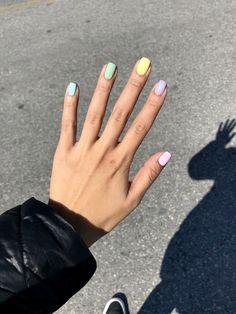 rainbow nails pastel nails fun nails fun nail designs rainbow pastel nails different colored nails different color nails spring nails Yellow Nails, Pink Nails, My Nails, Pastel Color Nails, Fall Nails, Nails Summer Colors, Winter Nails, Colored Tip Nails, Two Color Nails