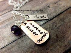 marine necklace- Marine Sister-millitary necklace-Marines-personalized-handstamped necklace on Etsy, $28.00