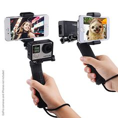 Stabilizing Hand Grip for GoPro Hero 5 4 3 3 with Dual Mount Tripod Adapter and Universal Phone Holder Record Videos with 2 Different Camera Angles Simultaneously Steady Shot Photography Selfies Dslr Photography Tips, Digital Photography, Wedding Photography, Camera Photography, Photography Equipment, Underwater Photography, Outdoor Photography, Animal Photography, Landscape Photography