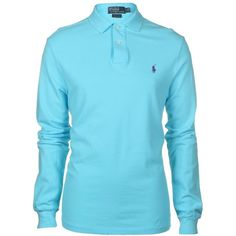 Ralph Lauren Polo Men's Slim Fit Long Sleeved Turquoise Polo T-Shirt ($130) ❤ liked on Polyvore