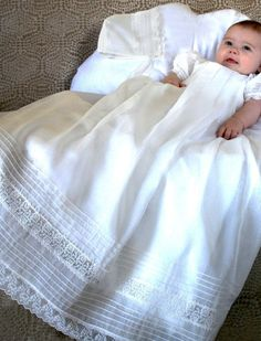 Gracious Christening Gown in Organdy with Matching Bonnet