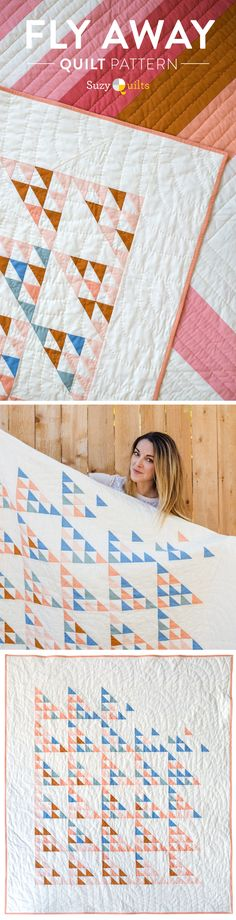 The Fly Away Quilt Pattern is now available! This is a modern twist on a class Flying Birds block. You can use yardage or scraps!