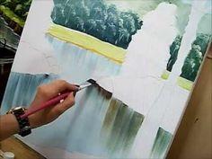 Como pintar água - How to paint water - Acrílico sobre tela - YouTube