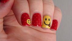 Smiley Face Nails inspired by Rihanna #nail #nails #nailart