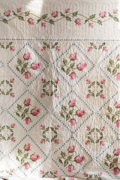 pink rosebuds traditional cross stitch Cottage Quilt