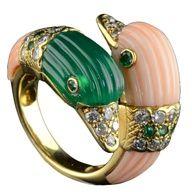 VAN CLEEF & ARPELS Emerald, Coral & Diamond Duck Head Ring. Circa 1969.