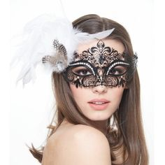 Black Laser Cut Mask with White Feathers -Made with eco-friendly metal material. -Laser Cut -Beautiful Rhinestones design.  -One size fits most. -Perfect for masquerade balls, weddings, proms, parties, dances, music festivals, raves, Mardi Gras, etc. FK2001 Jewelry