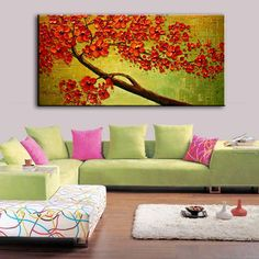 New handmade Modern Canvas on Oil Painting Palette knife Tree 3D Flowers Paintings Home living room Decor Wall Art  168035