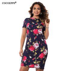 COCOEPPS Autumn Floral Print Women Dress 2017 Vintage Plus Size women  Clothing Dresses Big Size Ladies Office Vestidos 5XL 6XL ac732629402d