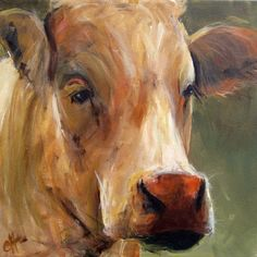 Cow Painting Print  Vera  Canvas or Paper Giclee by ArtPaperGarden, $24.00
