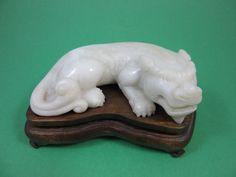 Vintage Asian Chinese Jade Foo Fu Dog Shisa Komainu Guard Lion Statue Figure