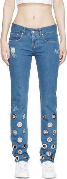 Filles a Papa - Blue Straight leg Eyelet Jeans