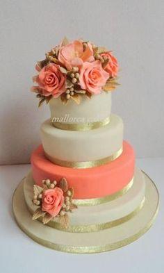 Coral peach wedding cake - cake by mallorcacakes - cakesdecor elegant cakes, elegant cake design Elegant Wedding Cakes, Beautiful Wedding Cakes, Gorgeous Cakes, Pretty Cakes, Amazing Cakes, Pink Wedding Cakes, Trendy Wedding, Birthday Cake For Women Elegant, Elegant Cakes