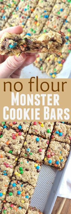 No Flour Monster Cookie Bars are loaded with oats, peanut butter, chocolate chips, and m&m's. They bake in a cookie sheet and make enough to feed a crowd. Plus, there is no flour in them!(Vanilla No Baking Cookies) Just Desserts, Delicious Desserts, Dessert Recipes, Yummy Food, Paleo Dessert, Desserts With Oats, Dinner Recipes, Drink Recipes, Dinner Ideas