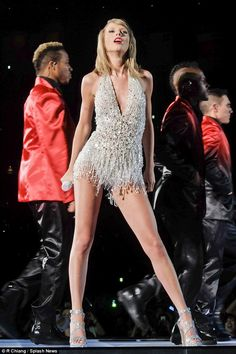 Taylor Swift, 25, kicked off her 1989 tour in Tokyo, Japan, and had nine different costume changes, which included this beaded leotard. She is expected to wear the same outfits for her UK leg of the tour