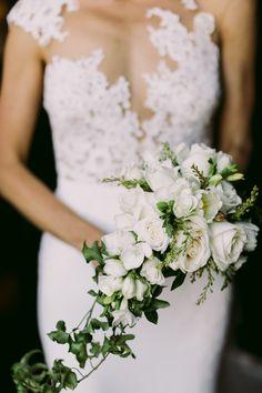 white and green bouquet - photo by Lara Hotz http://ruffledblog.com/chic-australian-wedding-with-greenery-and-gold