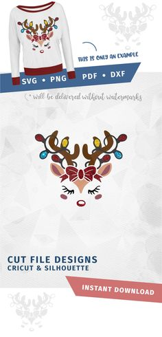 "SVG ""Reindeer with bow and lights"" Cricut Silhouette - pdf png svg dxf - Rudolph Red nose Cut Clipart File SVG, Winter Face Svg Christmas"