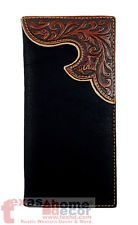 Western Bi-Fold Men's Rodeo Wallet Black Brown Floral Genuine Tooled Leather NEW