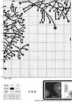 Gallery.ru / Фото #226 - Цветы (схемы) - Olgakam Cross Stitch Flowers, Cross Stitch Patterns, Stitch 2, Needlework, Dandelion, Embroidery, Album, Cross Stitch Bird, Scrappy Quilts