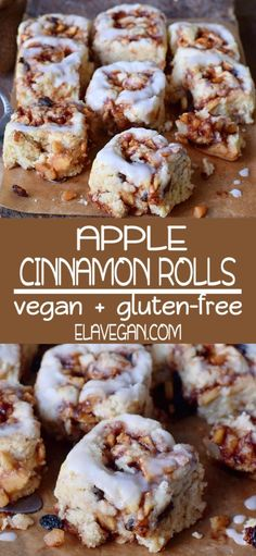 These vegan & gluten-free apple cinnamon rolls are soft, fluffy, and delicious. The apple cinnamon filling tastes and smells heavenly and keeps the cinnamon buns moist. This is a great vegan dessert, snack or breakfast. Vegan Dessert Recipes, Vegan Sweets, Gluten Free Desserts, Gluten Free Recipes, Cake Recipes, Vegetarian Desserts, Meat Recipes, Apple Cinnamon Rolls, Gluten Free Cinnamon Rolls