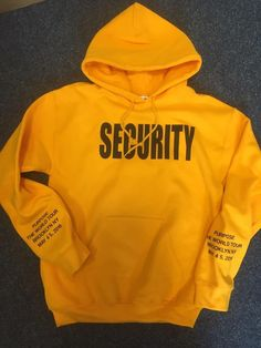 Security Justin Bieber - Purpose Tour Gold Hoodie- Brooklyn NY