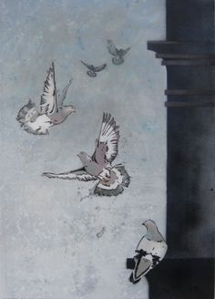 'Up Up and Away' Wood pigeons flying around an urban forest. Acrylic, stencils and spray paint