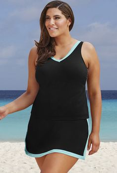 Swim 365 26-34 Black/Mint Skirtini Swim Set