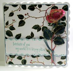 This was one of my TV show samples created for Chocolate Baroque using Leafy Trails background and Rose Stem Script stamps. Anne Waller #chocolatebaroque #stamping #cardmaking #electroniccutting