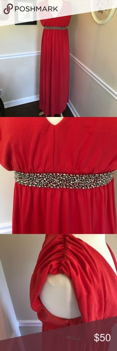 "ASOS Maternity red maxi with beaded waist Beautiful, pre loved, ASOS maternity, red maxi dress with beaded waist and keyhole back. Beautiful and comfortable dress. Great shape. Does show minimal signs of wear mainly under arms but not noticeable when wearing. Laying flat measurements: Length is  58"". Bust is 16"" armpit to armpit. Elastic waist is 14"". ASOS Maternity Dresses Maxi"
