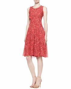 B2G67 Oscar de la Renta Printed A-Line Silk Chiffon Dress