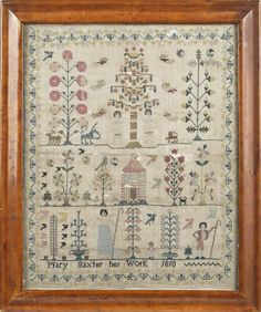 English silk on linen sampler, wrought by Mary Baxter Her Work 1810, with an upper panel of Adam and Eve, flanking the Tree of Life, a middle panel with a house and stylized trees, and a lower panel of a shepherd and a shepherdess, all within a vine border, 15 x 12 1/2.