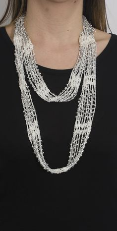 b46124f267be Crochet Beaded Necklace Scarf with Silver Beads - Just Jamie Collares De  Joyas