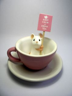 Pink Teacup Mouse  'Keep Calm and Drink Tea' by QuernusCrafts, £20.00