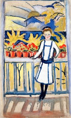 Girl on a Balcony I Tegernsee: 1910 August Macke German Expressionist Painter 1887 - 1914 August Macke, Wassily Kandinsky, Franz Marc, Cavalier Bleu, Maurice De Vlaminck, Blue Rider, Paul Klee, Art Gallery, Oil Painting Reproductions