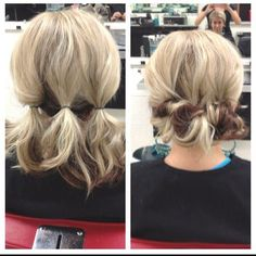 Easy Updo Hairstyles. Curl bottom then three ponies flipped in. Cute