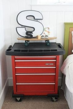 This is a cool idea an old tool box for a dresser or toy storage