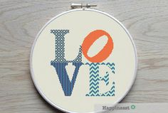 Modern cross stitch pattern LOVE . Fits a 11 inch embroidery hoop (if stitched on 14 count aida)  The pattern comes as a PDF file that youll will be