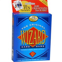 Wizard Card Game: Meet the card game that's challenging, habit-forming, and loads of fun! It's Wizard: a unique game with a 60-Card Deck! The rules are simple and easy to learn…mastering the strategy is the real challenge.  $7.99  http://calendars.com/Card-Games/Wizard-Card-Game/prod1279005/?categoryId=cat430010=cat430010#